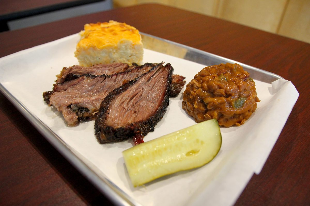 Brisket platter with beans and cornbread at Smoke, 34 W. Merchant St., Audubon, NJ.