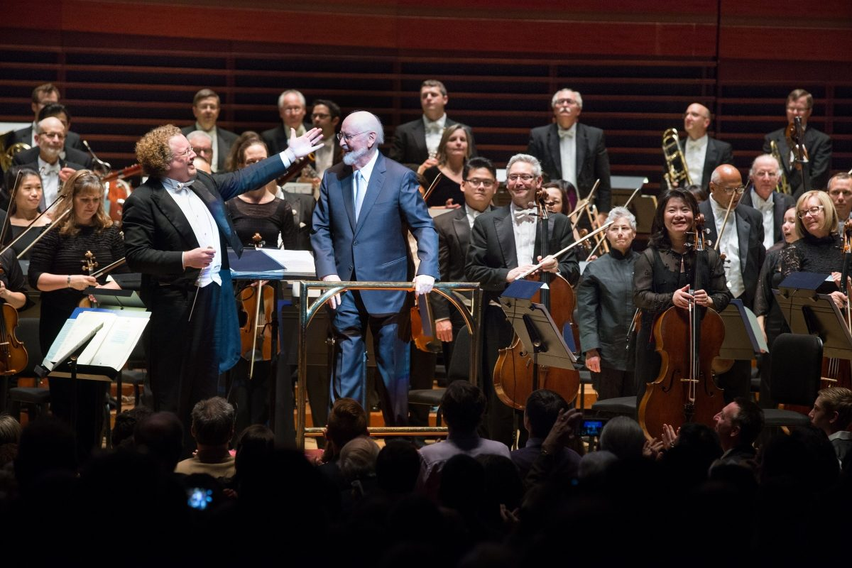 John Williams with the Philadelphia Orchestra in a May 2016 concert with conductor Stéphane Denève.