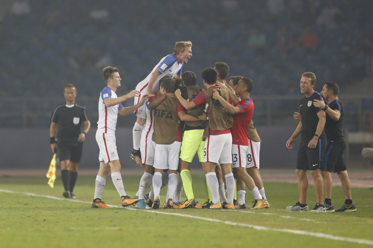 The United States has reached the quarterfinals of the FIFA Under-17 World Cup for the first time since 2005. Its head coach is former Philadelphia Union manager John Hackworth (second from right).