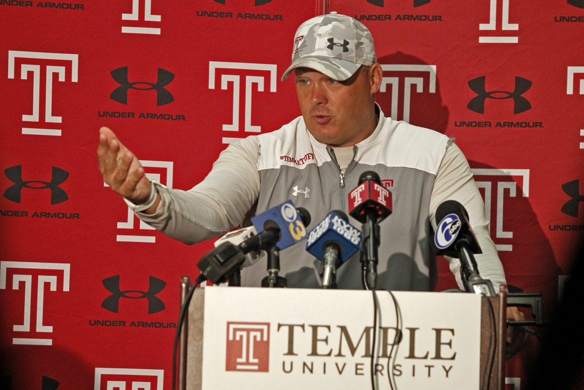 Temple football head coach Geoff Collins talks to the media, Tuesday Sept. 12, 2017, in Philadelphia. ( H. Rumph Jr / For the Inquirer )