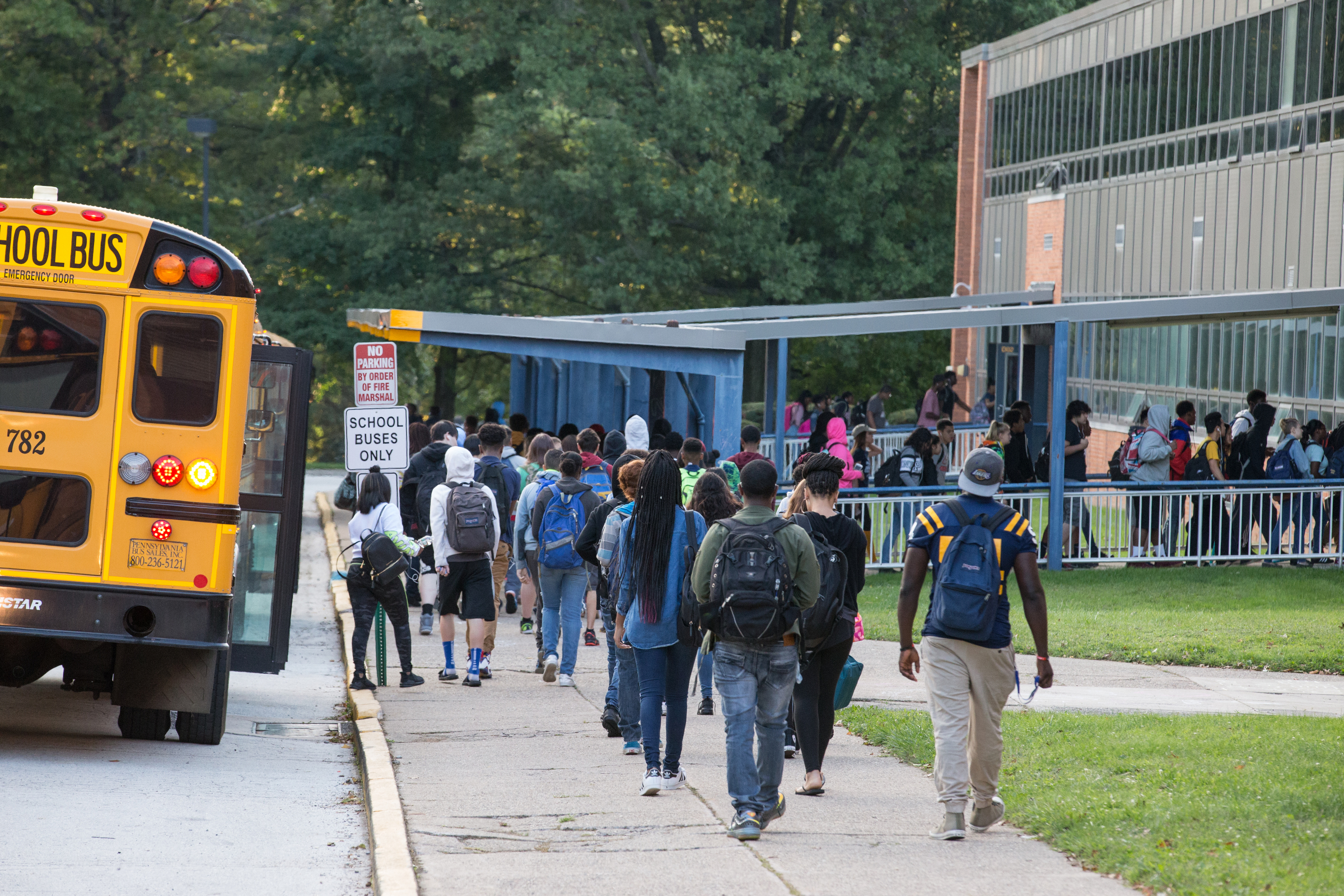 The bus loop entrance at Cheltenham High School in Wyncote, Pa.