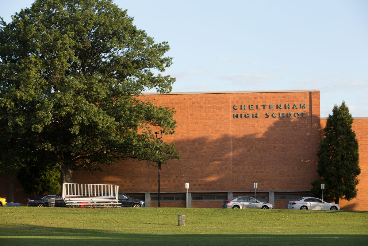 A front view of Cheltenham High School in Wyncote.