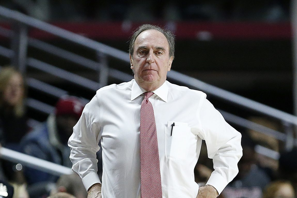 Temple's head coach Fran Dunphy watches as the Temple Owls play East Carolina Pirates at the Liacouras Center in Philadelphia, PA on January 7, 2017. DAVID MAIALETTI / Staff Photographer