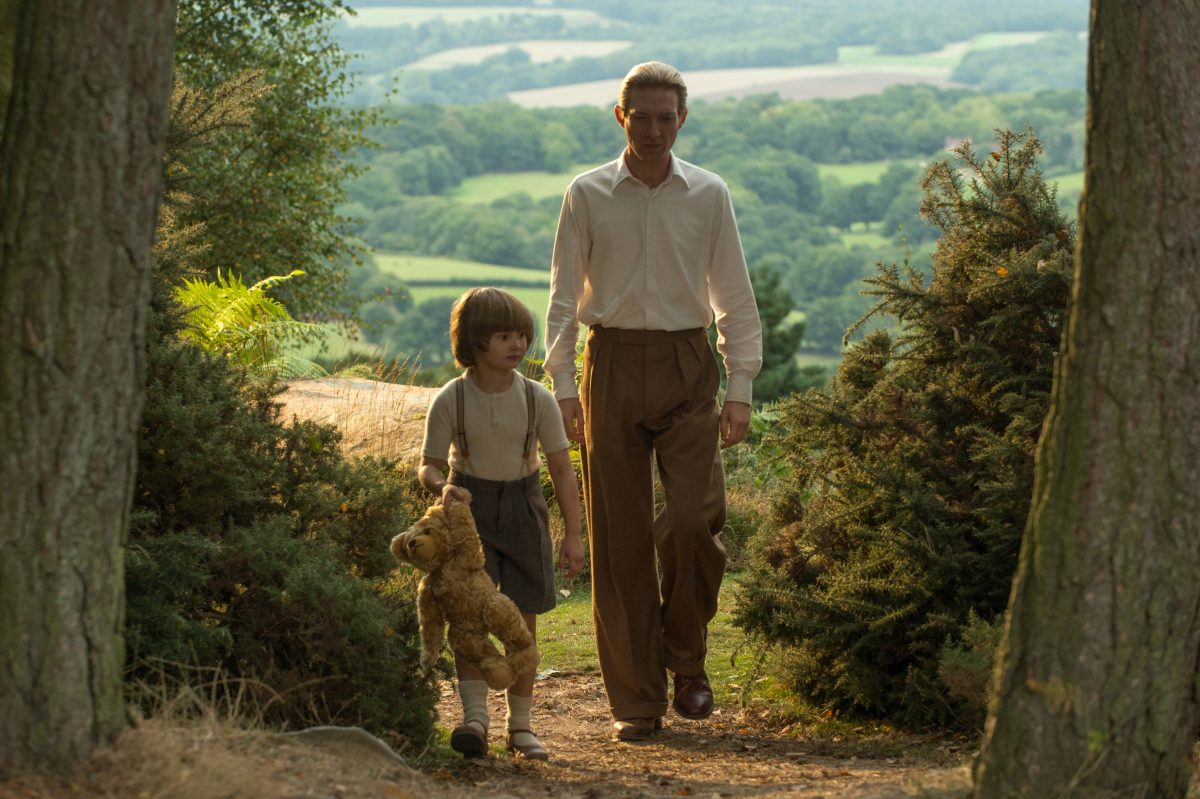 """GOODBYE CHRISTOPHER ROBIN"": Domhnall Gleeson (right) as A.A. Milne and Will Tilston as Christopher Robin Milne."