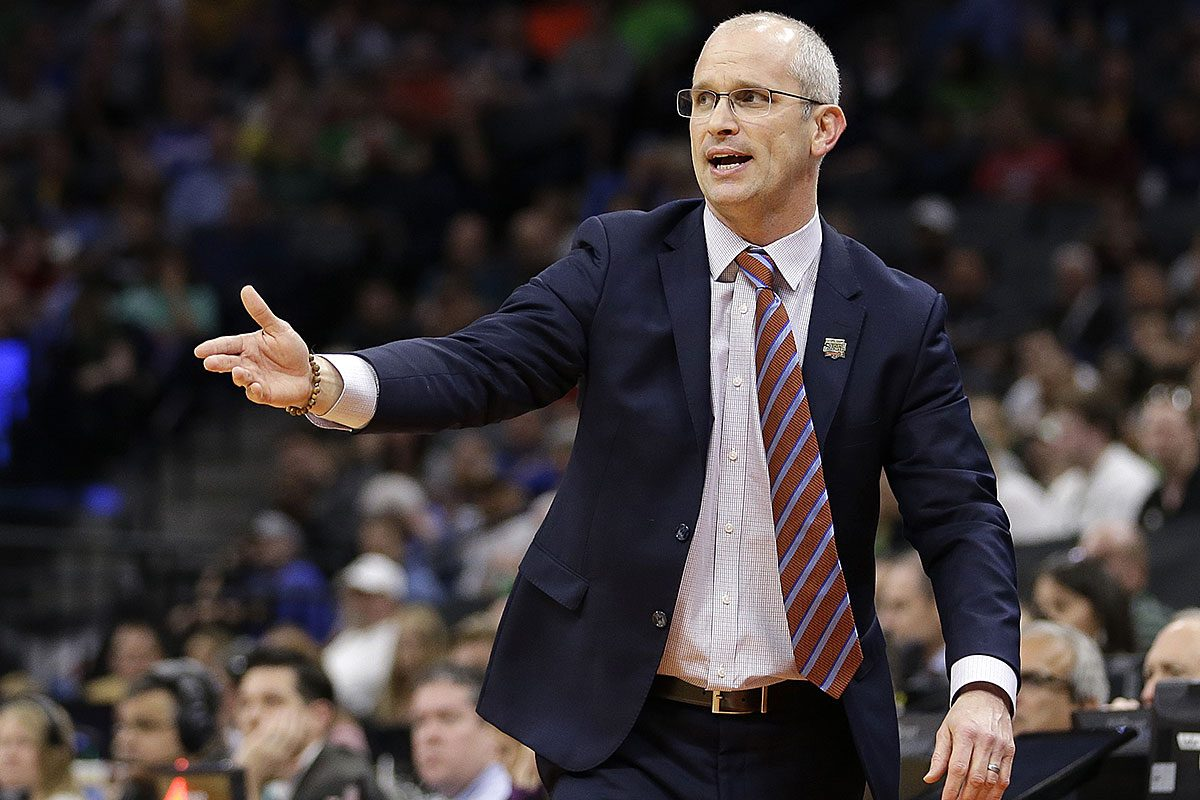 Rhode Island head coach Dan Hurley during the first half against Oregon in a second-round game of the men's NCAA college basketball tournament in Sacramento, Calif., Sunday, March 19, 2017.