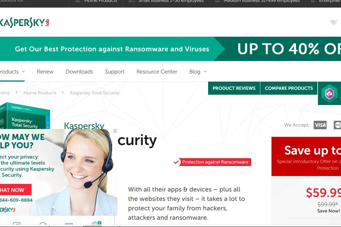 A view of the Kaspersky consumer products home page