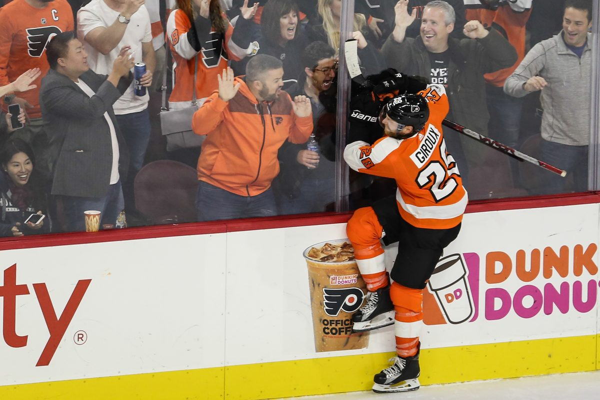 Claude Giroux celebrates his goal against the Florida Panthers during the second period at the Wells Fargo Center.