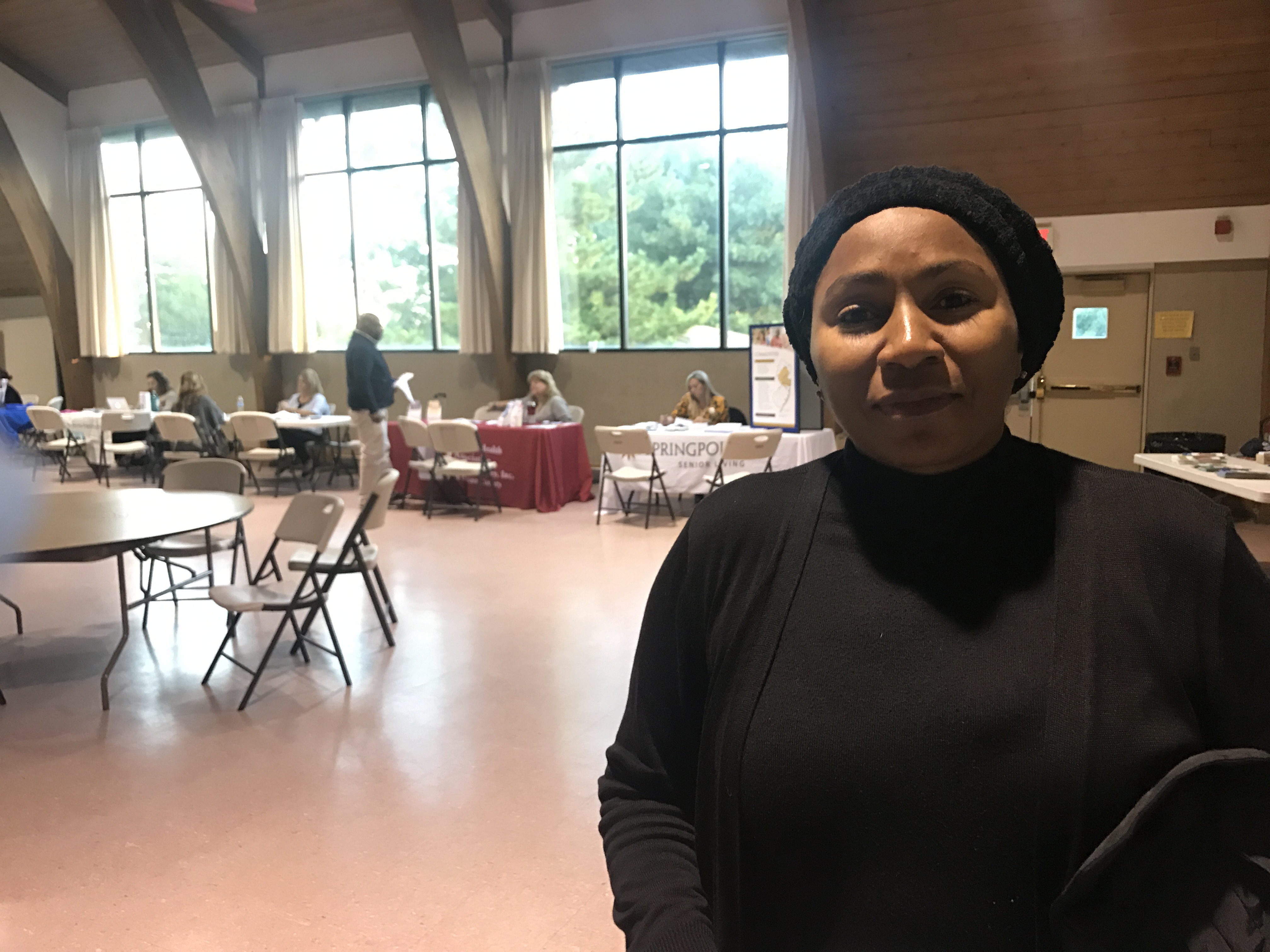 Michelle Griffith, 51, of Toms River, attends a state-sponsored housing fair for Sandy victims, nearly five years after the storm itself. She was a renter in Queens, became homeless and lived out of her car for a time.