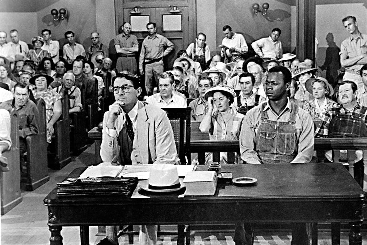 Gregory Peck played Atticus Finch, the lawyer for Tom Robinson, played by Brock Peters, in the 1962 film version of 'To Kill a Mockingbird.'