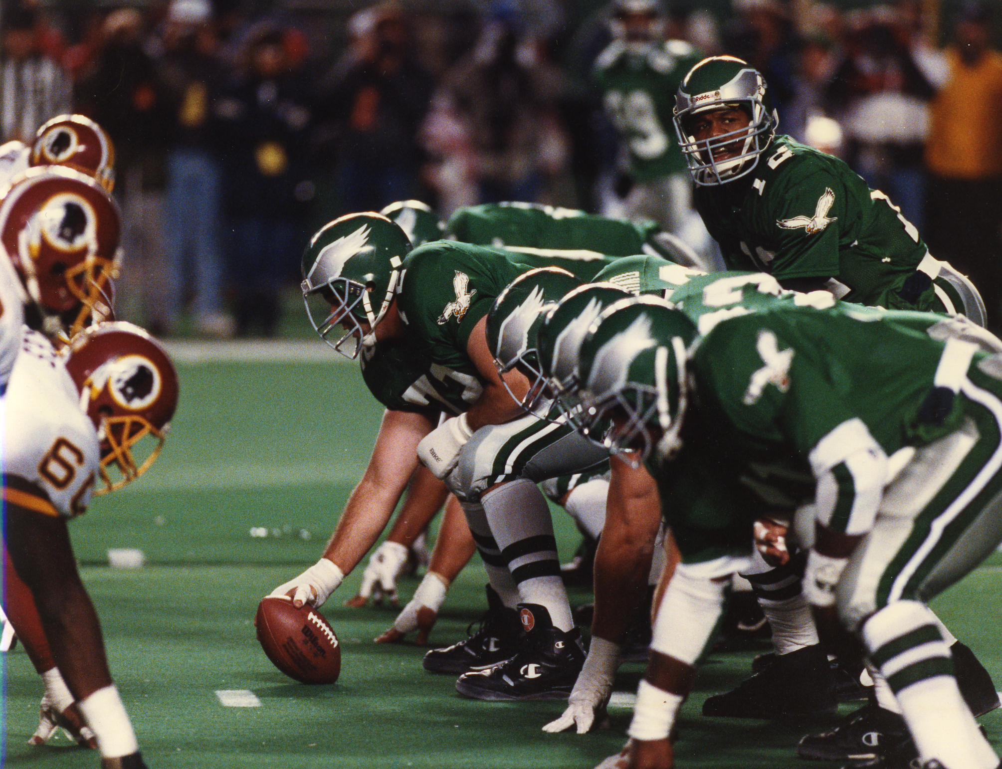Randall Cunningham, after signing a record contract extension worth $18 million in the morning, threw 447 yards and five touchdowns in the afternoon on Sept. 18, 1989 at Washington´s RFK Stadium. Photo courtesy of the Philadelphia Eagles.