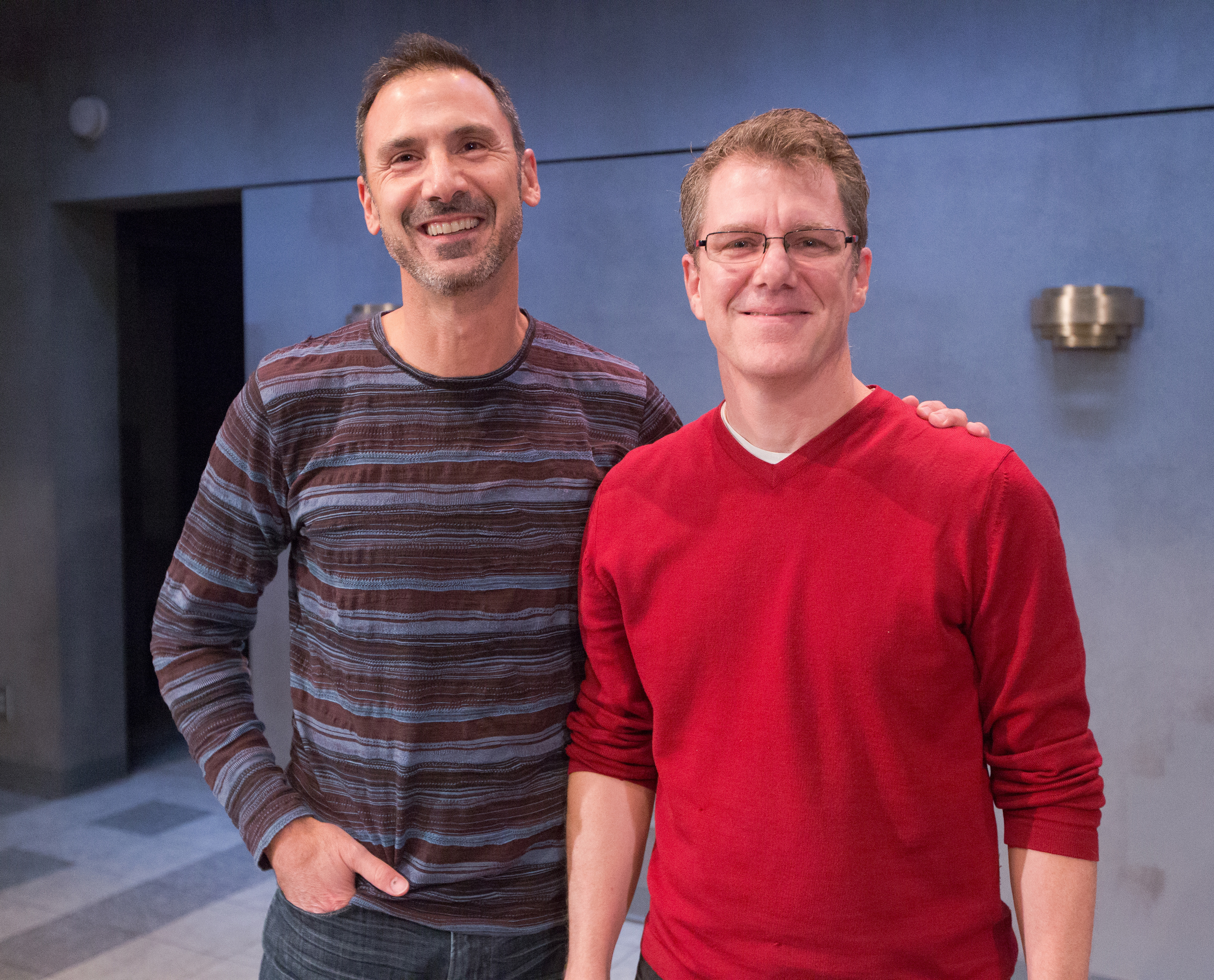 Composer Robert Maggio (left) and Playwright Michael Hollinger on the set of TouchTones, at the Arden Theatre Company through December 3, (Photo by Mark Garvin)