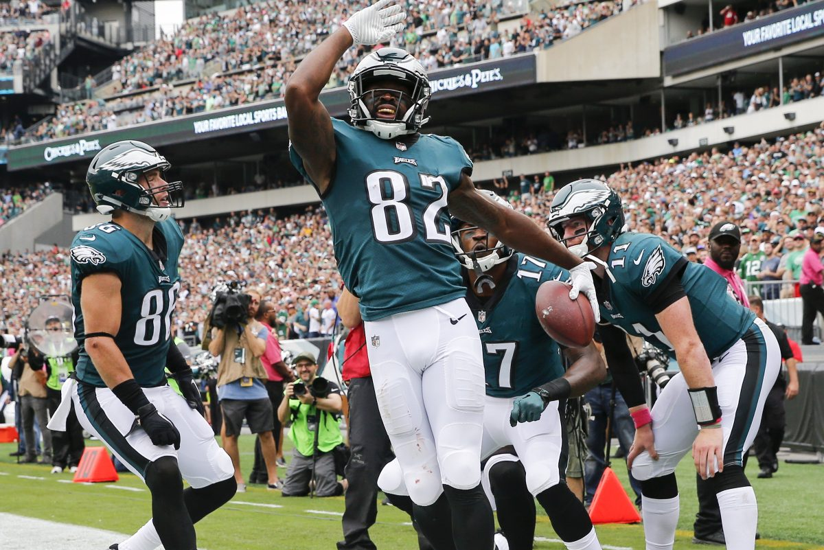Eagles wide receiver Torrey Smith celebrates his second-quarter touchdown reception with his teammates against the Arizona Cardinals on Sunday, October 8, 2017 in Philadelphia. YONG KIM / Staff Photographer