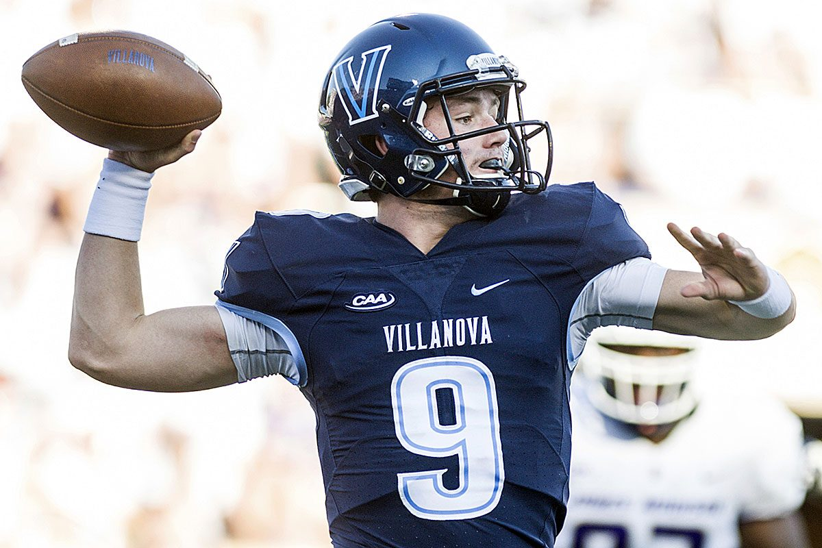 Villanova quarterback Jack Schetelich (9) looks for an open receiver during the first half of an NCAA football game against James Madison in Harrisonburg, Va., Saturday, October 14, 2017.