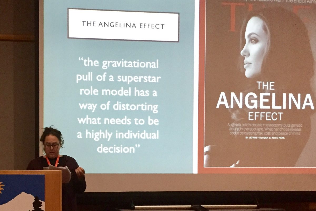 The author lectures on the sexist assumption that women choose life-altering surgery because a famous actress like Angelina Jolie did.