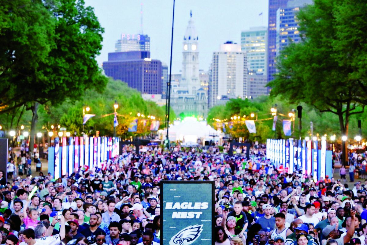 The crowd during the second round of the 2017 NFL draft at  the Art Museum.