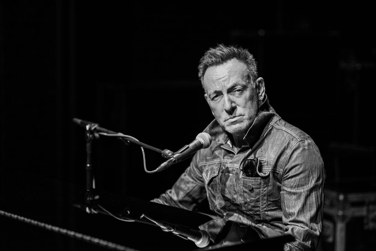 """Bruce Springsteen in his one-man show, """"Springsteen on Broadway."""""""