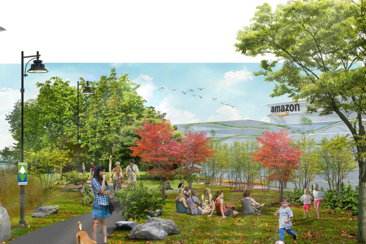 Artist´s conceptual rendering of Amazon headquarters on Bristol Township´s Delaware River waterfront, from headquarters bid submission.