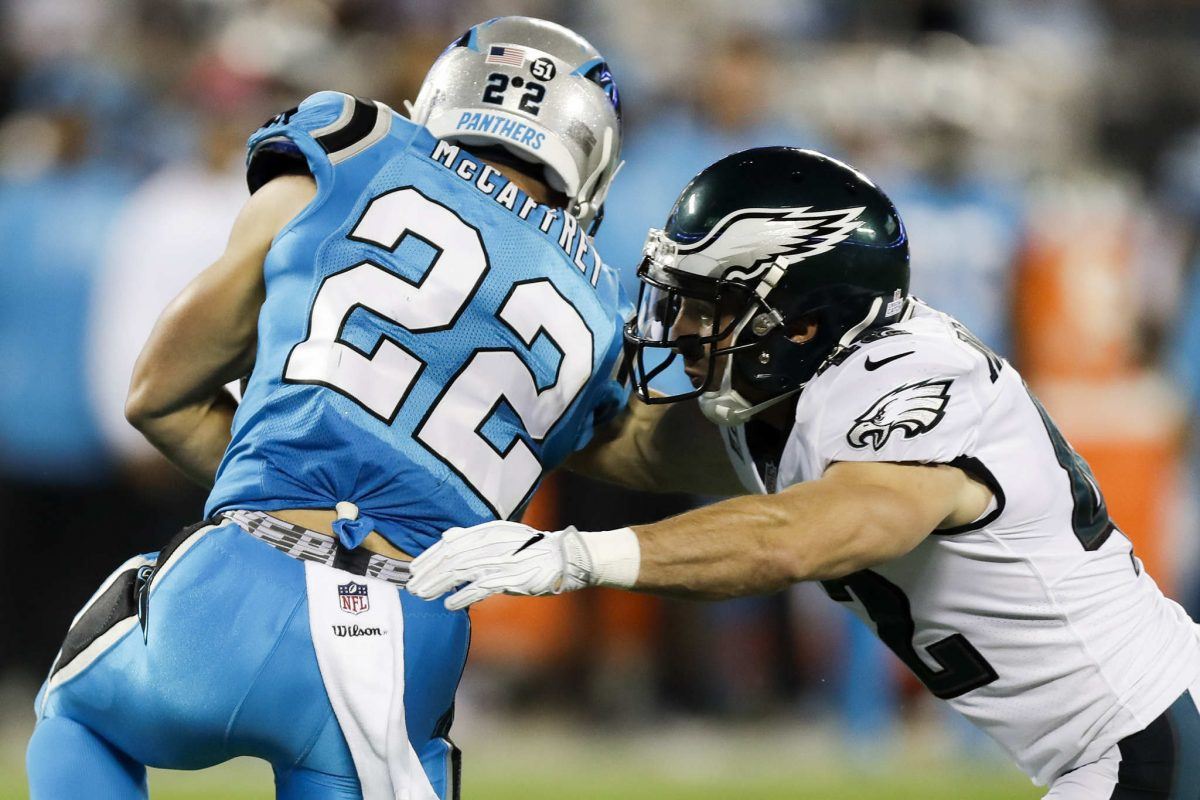 Eagles free safety Chris Maragos goes after Carolina Panthers running back Christian McCaffrey on Thursday, October 12, 2017 in Charlotte, NC.