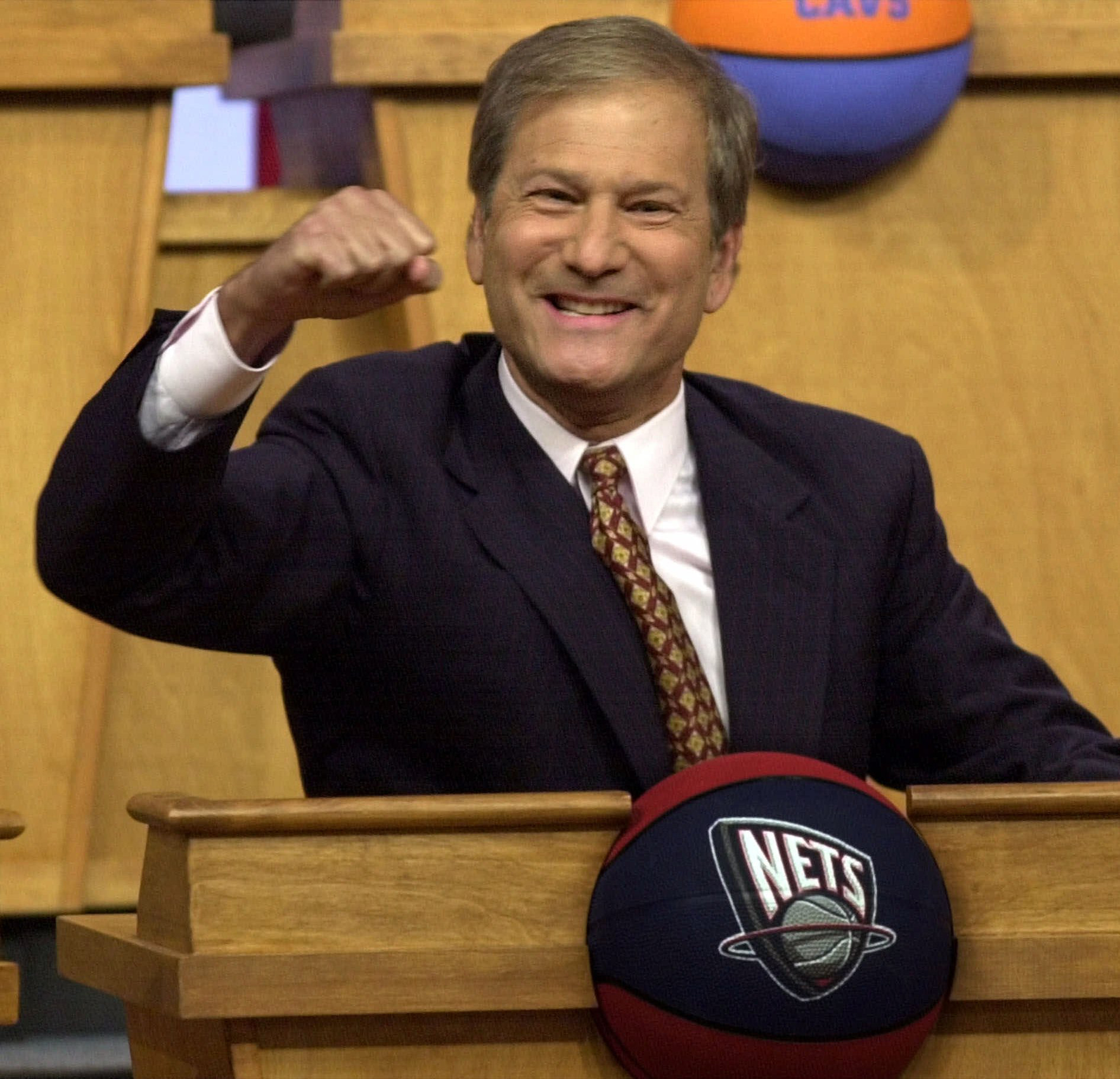 New Jersey Nets owner Lewis Katz reacts as the Nets received the first pick in the NBA draft Sunday, May, 21, 2000, at the NBA Draft Lottery in Secaucus, N.J. The Nets overcame a 4.4% probability of obtaining the first selection.