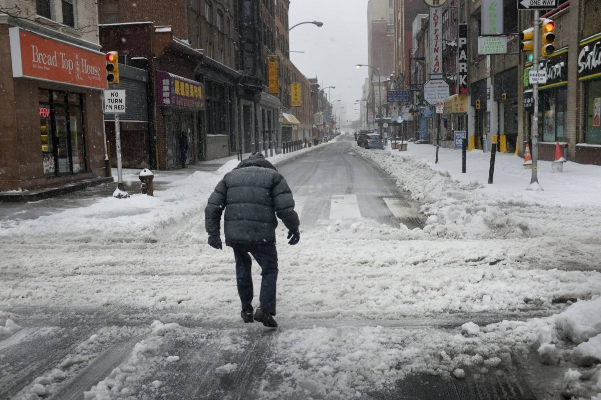 The slushy streets of Chinatown last March; feds say this might be a tame winter.
