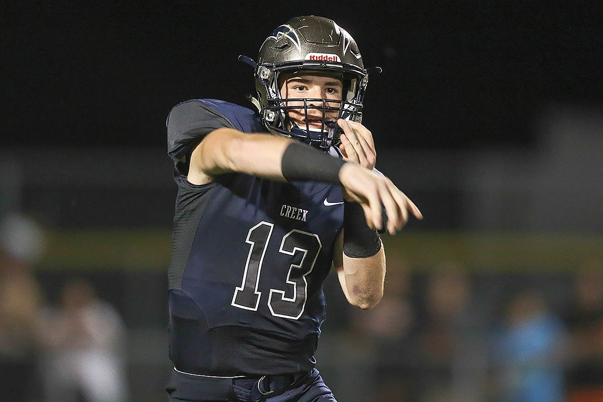 Timber Creek's quarterback Devin Leary throws a pass against Cherokee.