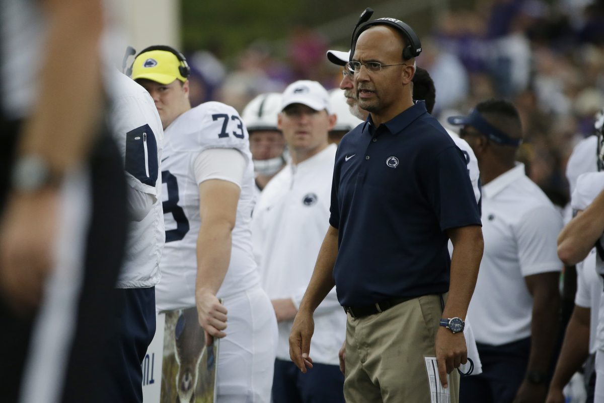 Penn State head coach James Franklin watches his team during the second half of an NCAA college football game against the Northwestern in Evanston, Ill., Saturday, Oct. 7, 2017. (AP Photo/Nam Y. Huh)
