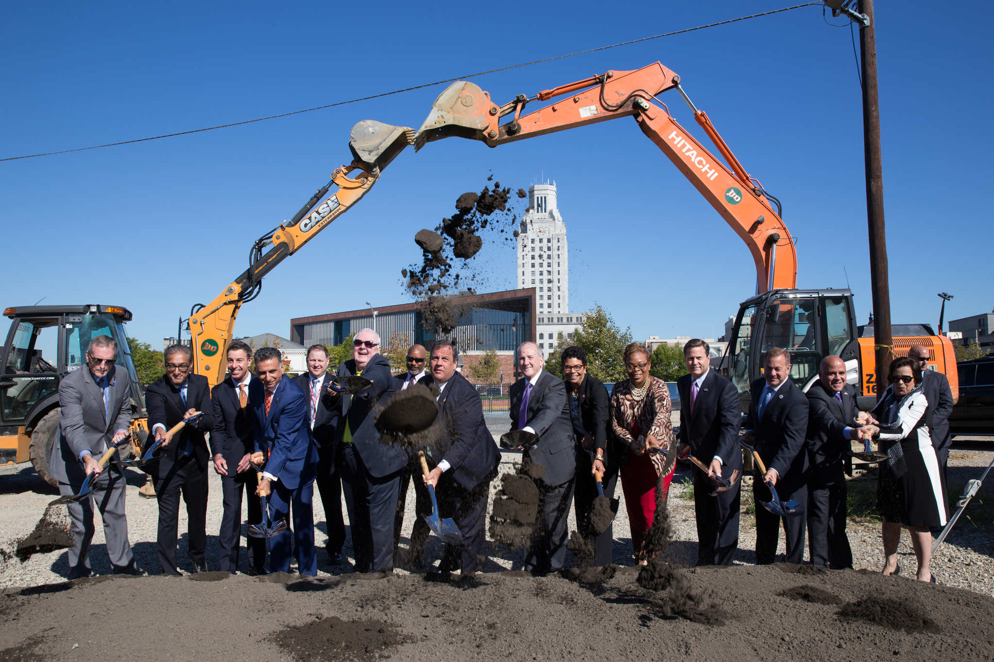 New Jersey Governor Christ Christie and other dignitaries participate in a ceremonial groundbreaking for the Rutgers-Rowan Health Sciences Building.