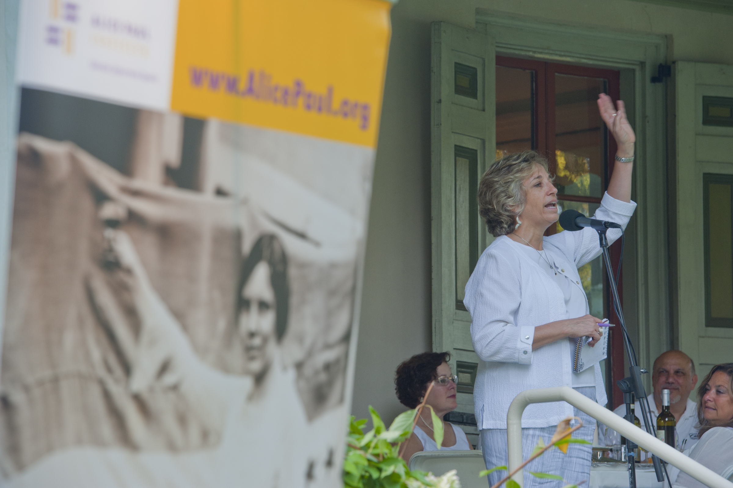 Luciennne Beard, executive director of the Alice Paul Institute speaks during a celebration of Women´s Equality Day, in August at Paulsdale, the home of women´s rights suffragist Alice Paul.