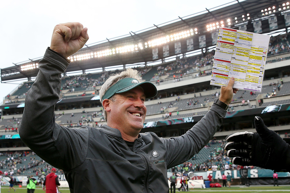 Eagles head coach Doug Pederson has a reason to celebrate after leading the team to a 5-1 start.