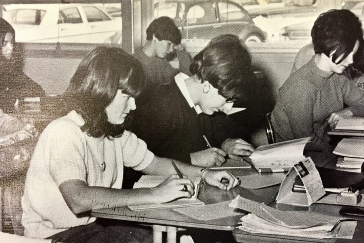 Classroom scene at Cherry Hill High School West, taken from the Rampant, the yearbook of the Class of 1967.