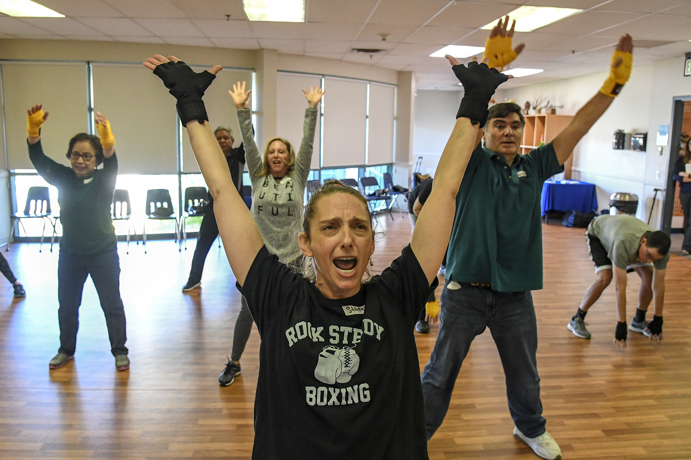 Stacey Macaluso, 49, leads her Rock Steady Boxing class at the Katz Jewish Community Center in Cherry Hill, NJ for people fighting the degenerative neurological effects of Parkinson´s Disease.