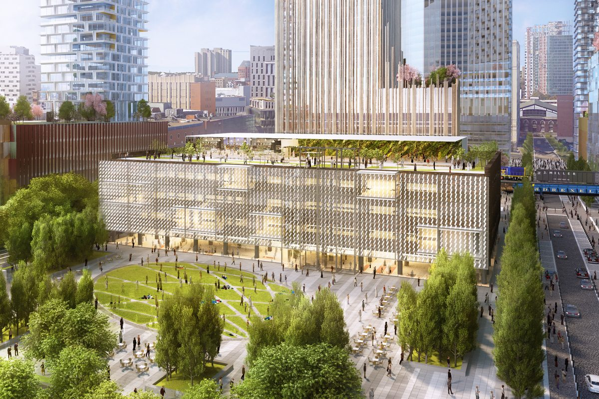 Artist's rendering of One Drexel Square, the former Bulletin Building, after renovations as part of the Schuylkill Yards redevelopment project.