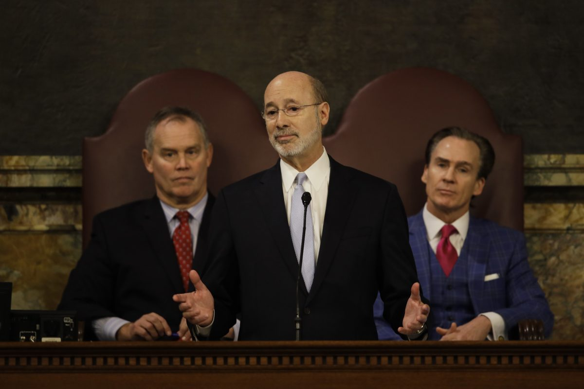 Gov. Wolf delivers his budget address for the 2017-18 fiscal year to a joint session of the Pennsylvania House and Senate in Harrisburg, Pa., on Tuesday, Feb. 7, 2017. Nearly nine months later, Pennsylvania still does not have a completed budget.