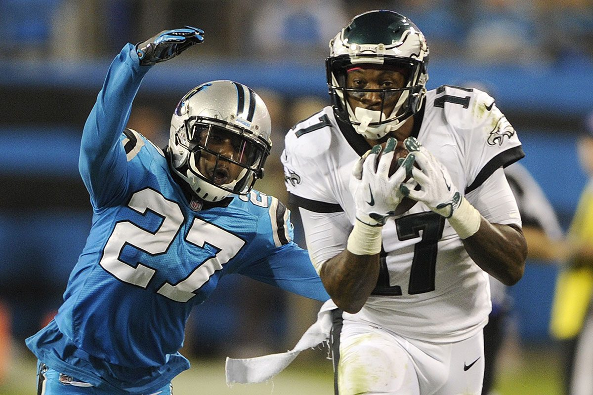 Philadelphia Eagles' Alshon Jeffery (17) catches a pass in front of Carolina Panthers' Kevon Seymour (27) in the second half of an NFL football game in Charlotte, N.C., Thursday, Oct. 12, 2017.