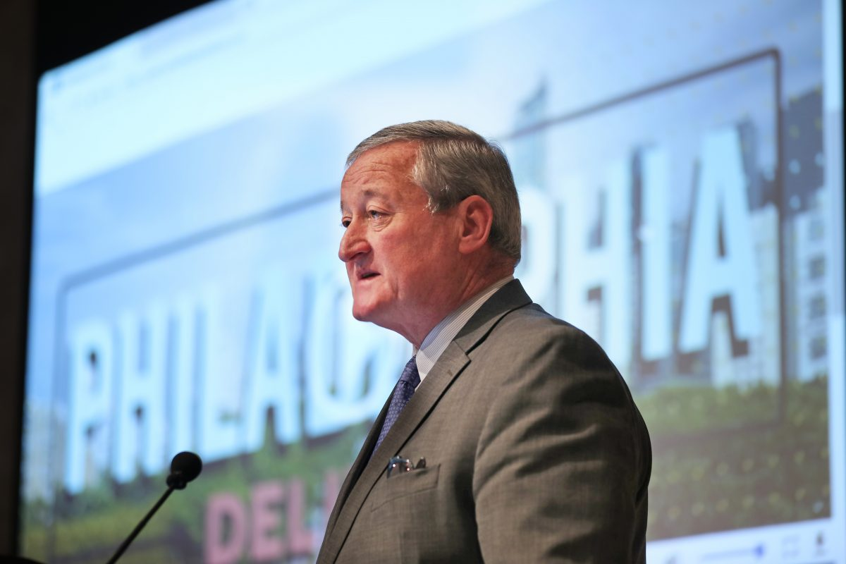 Mayor Kenney speaks and wells up at a gathering hosted by the Chamber of Commerce for Greater Philadelphia to thank the diverse coalition that made the Philadelphia region's bid for Amazon HQ2 possible.