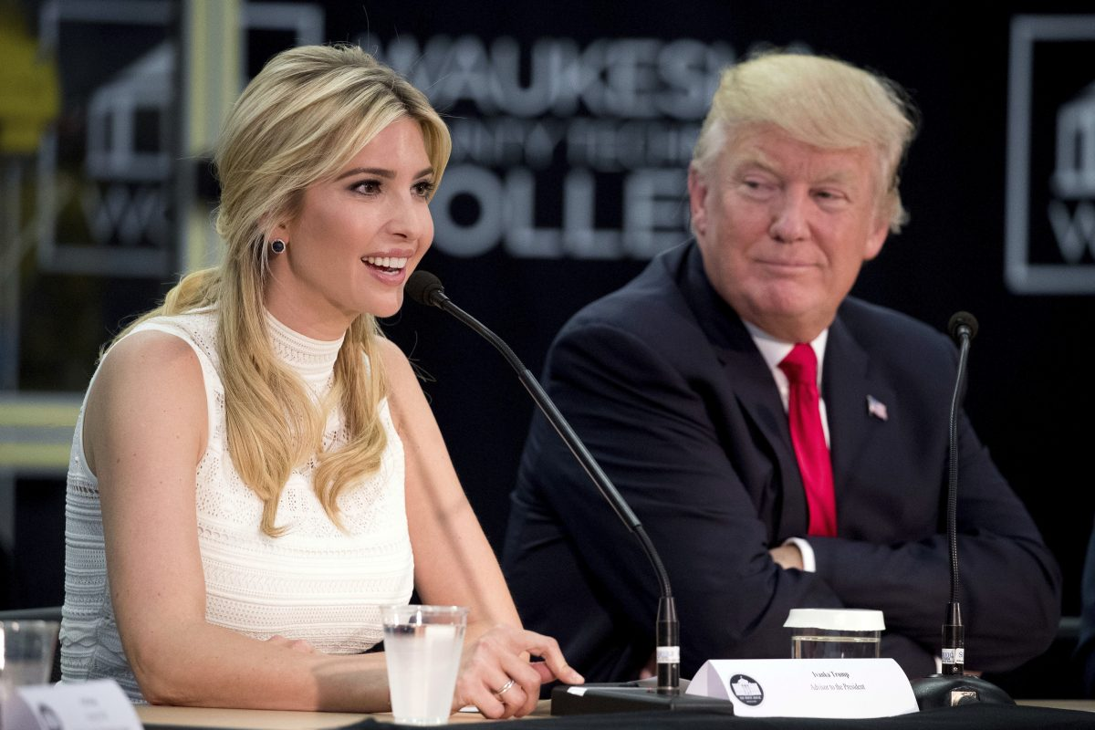 President Donald Trump listens as his daughter, Ivanka Trump, speaks at a workforce development roundtable in Wisconisn earlier this year.