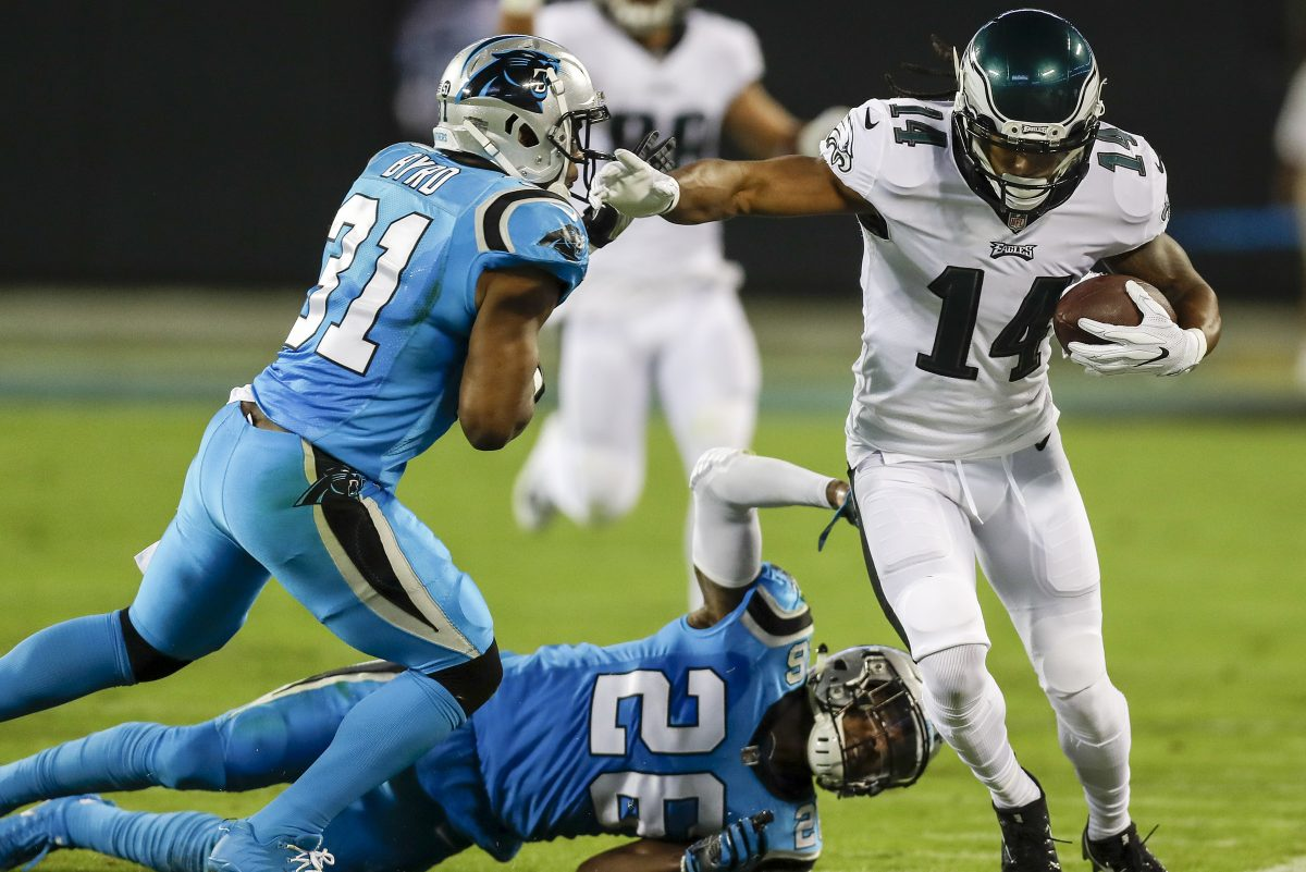 Eagles wide receiver Marcus Johnson made a key catch in the Eagles' win over the Panthers on Oct. 12.