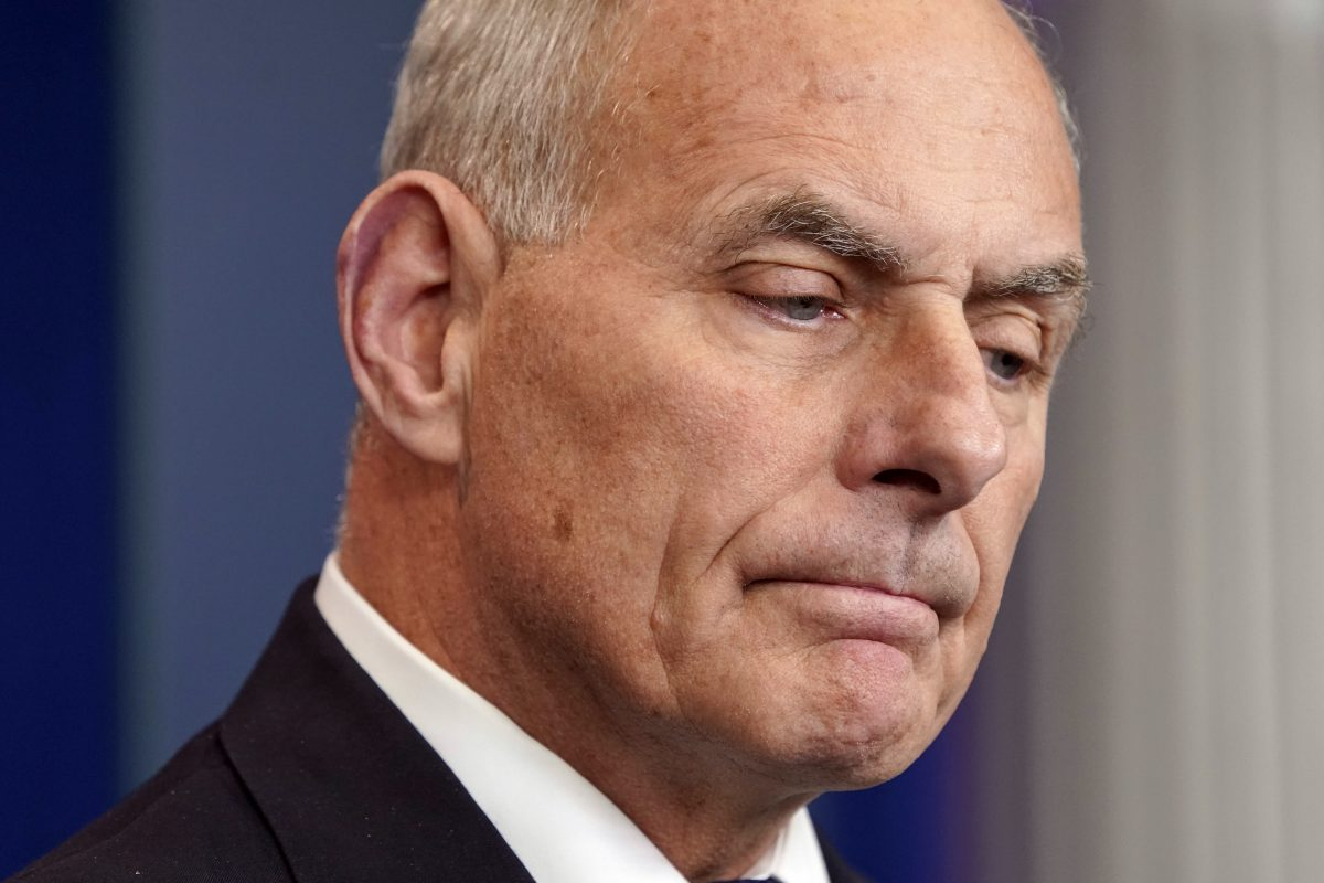 White House Chief of Staff John F. Kelly pauses as he speaks to the media during the daily briefing in the Brady Press Briefing Room of the White House, Thursday, Oct. 19, 2017.