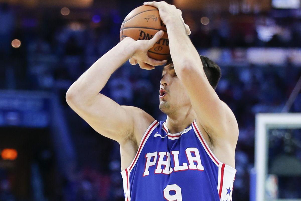 Sixers forward Dario Saric shoots the basketball against Boston Celtics on Friday.