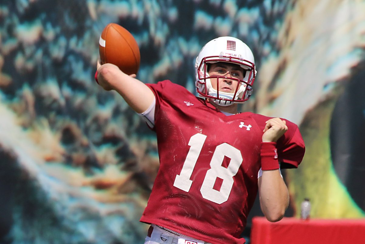 QB Frank Nutile throws the football during practice.