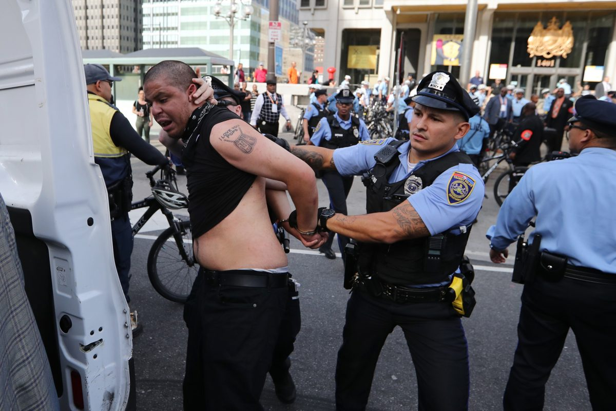 Anti-police protests turned from peaceful to aggressive Saturday at the statue of former Mayor Frank L. Rizzo, leading to at least three injuries, two arrests and four citations.