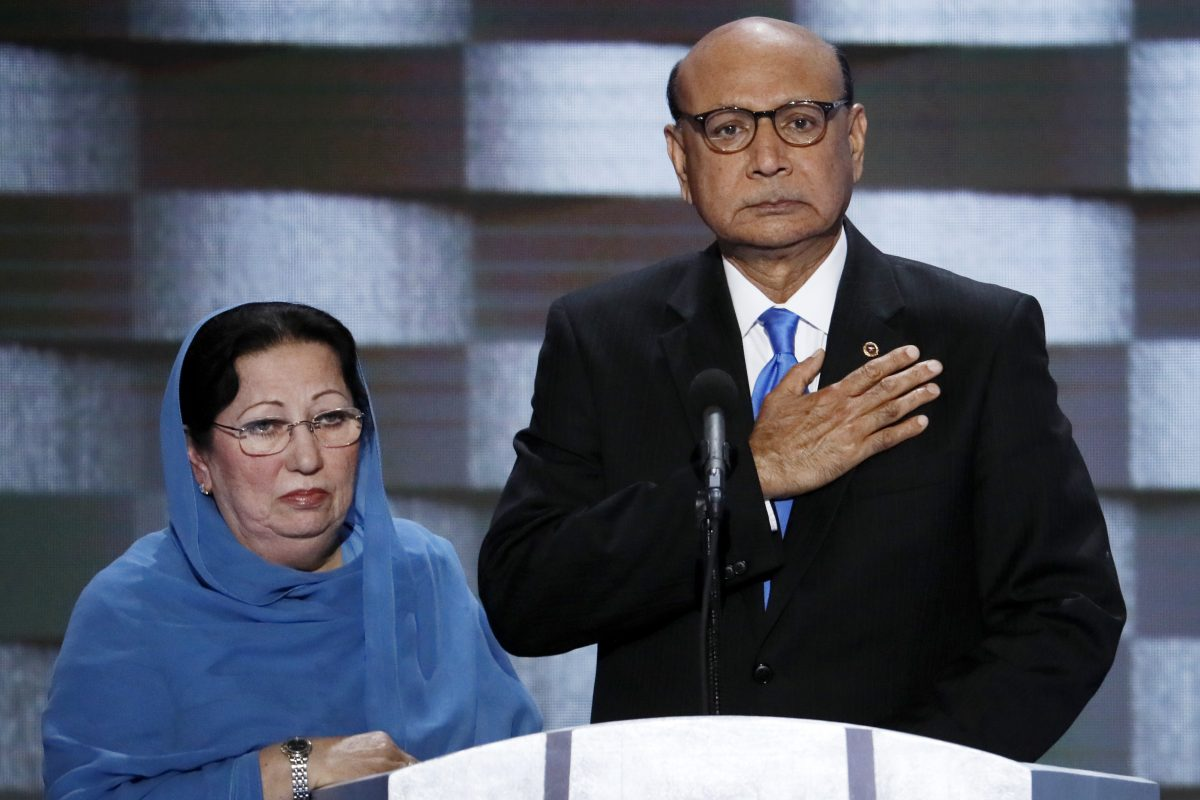 Khizr Khan, father of fallen Army Capt. Humayun Khan, and his wife, Ghazala, speak at the Democratic National Convention in Philadelphia last year.