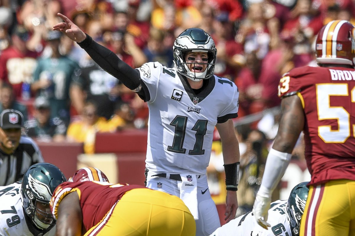 Philadelphia Eagles quarterback Carson Wentz leads the NFL in third-down passing after one week.