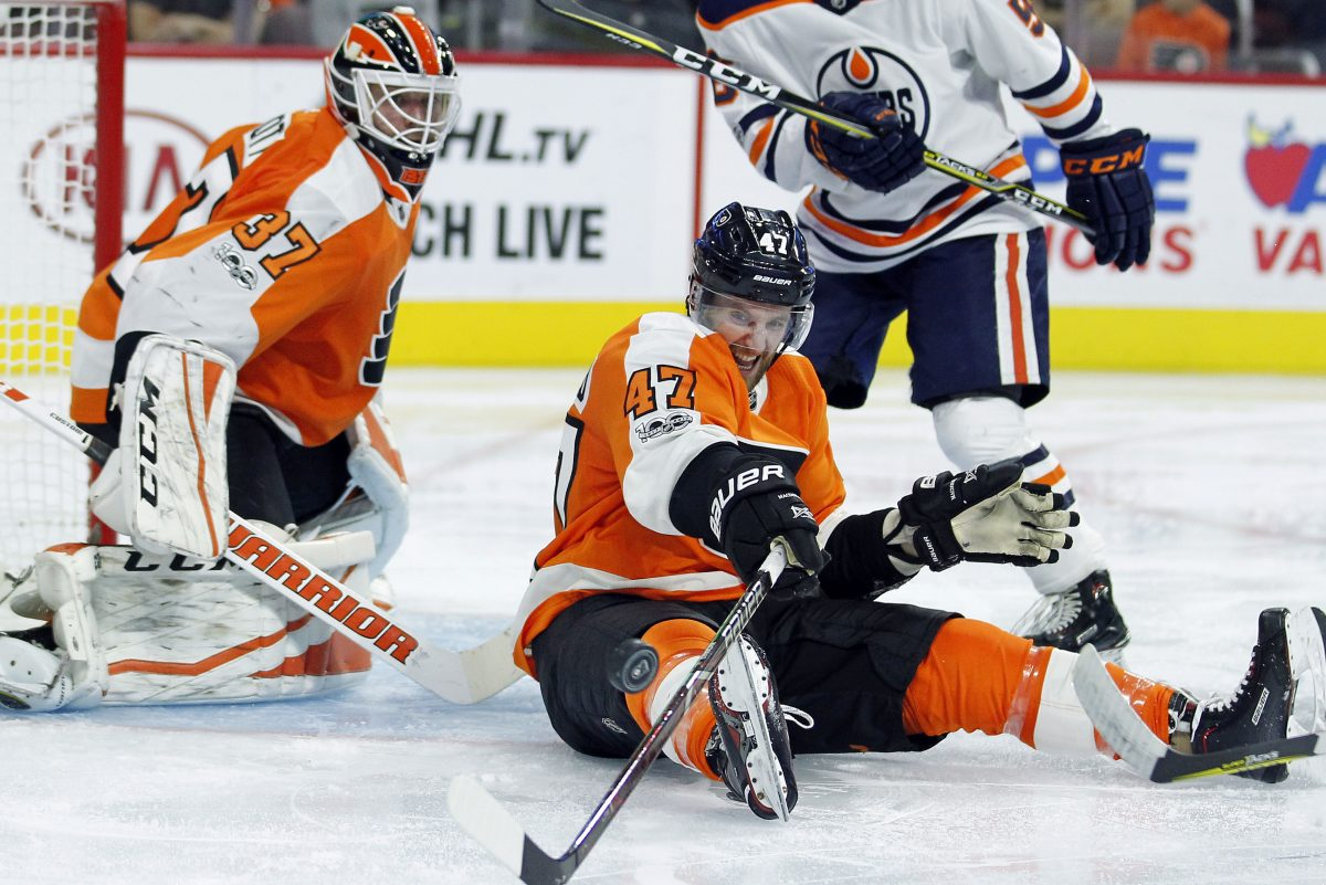 Flyers' Andrew MacDonald is out 4-6 weeks with injury suffered in Saturday's win over Oilers.