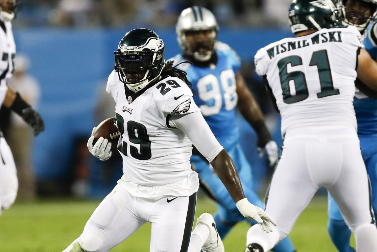 LeGarrette Blount runs with the football against the Carolina Panthers on  Oct. 12.