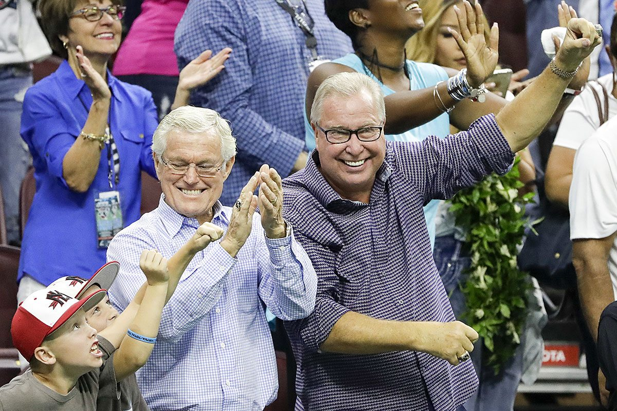 Soul ownership partner Dick Vermeil and majority owner Ron Jaworski celebrate after the Soul beat the Tampa Bay Storm 44-40 to win the Arena Bowl.