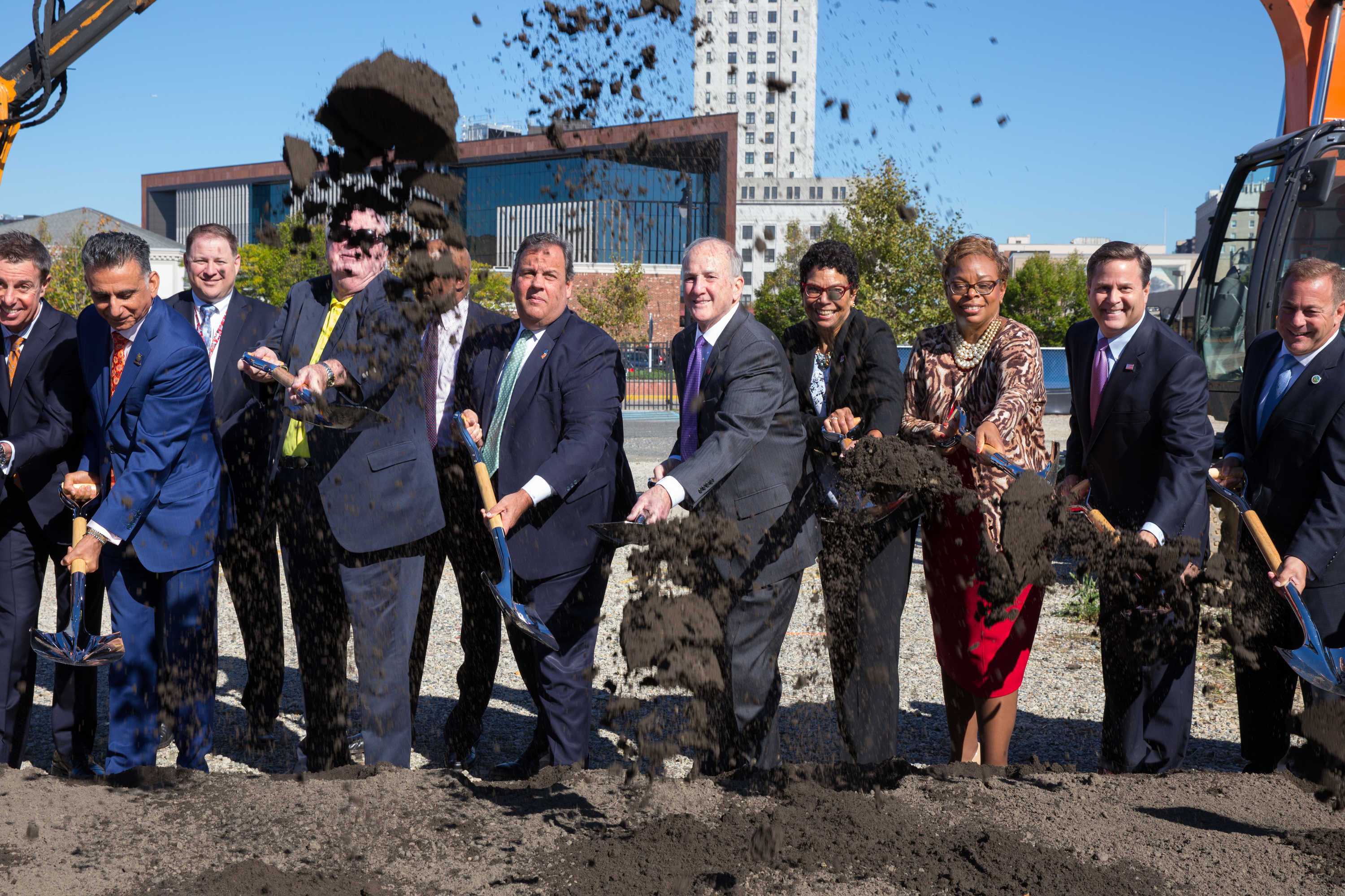 (Left to Right) Ali. A. Houshmand, Rowan University president , Chad Bruner, chairman of the Rowan University Board of Trustees; Jack Collins, former GOP speaker of the New Jersey State Assembly,; Gov. Christie,;Robert Barchi, president of Rutgers University; Phoebe Haddon, chancellor of Rutgers-Camden; Camden Mayor Dana Redd,; Rep. Donald Norcross, and Freeholder Director Louis Cappelli participate in the ceremonial groundbreaking for the Rutgers-Rowan Health Sciences Building, at the corner of MLK BLvd. and Broadway in Camden, New Jersey, Thursday, Oct. 19, 2017.