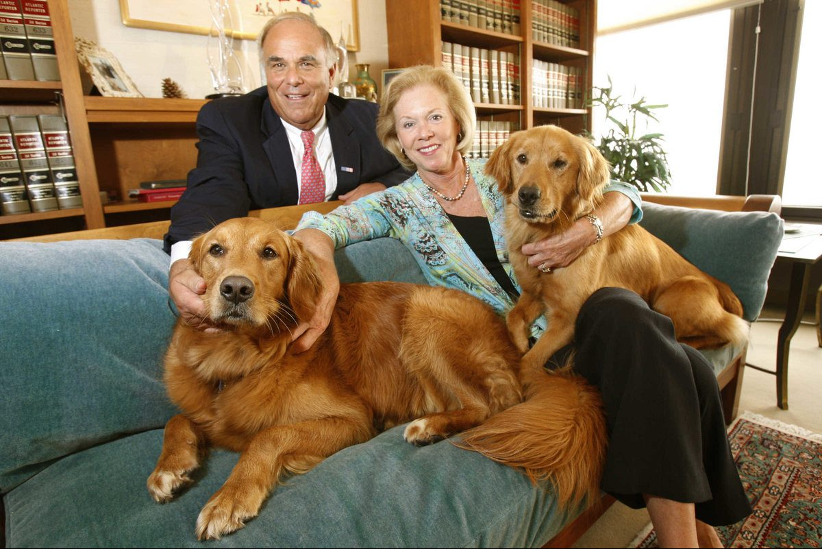 Former Gov. Ed Rendell with his former wife, Judge Marjorie Rendell, and their dogs Ginger (left) and Maggie. Maggie died in April of cancer. Ginger died in 2015.