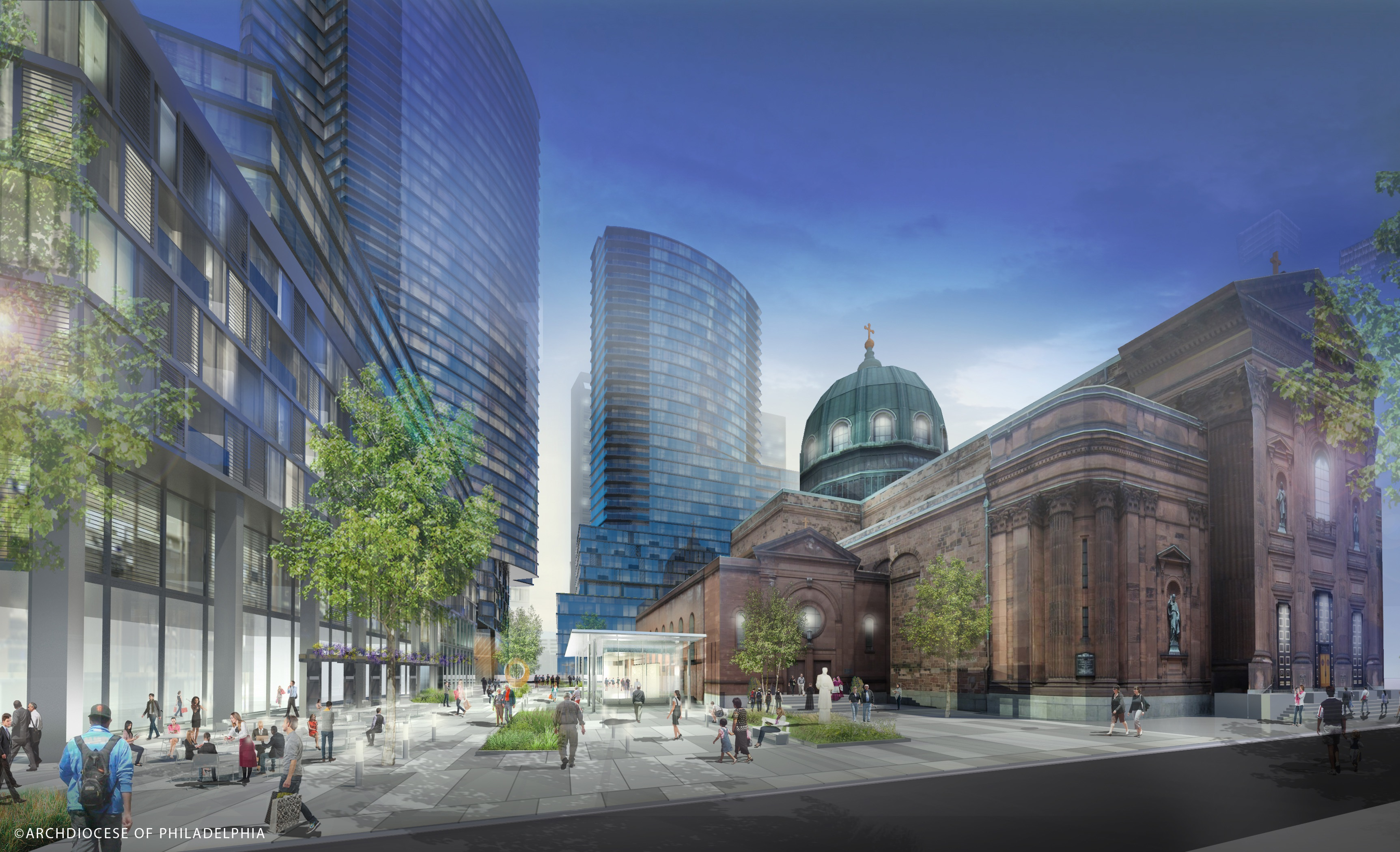 The Archdiocese of Philadelphia last year released this rendering, envisioning high-rise towers would take the place of some of its real estate holdings surrounding