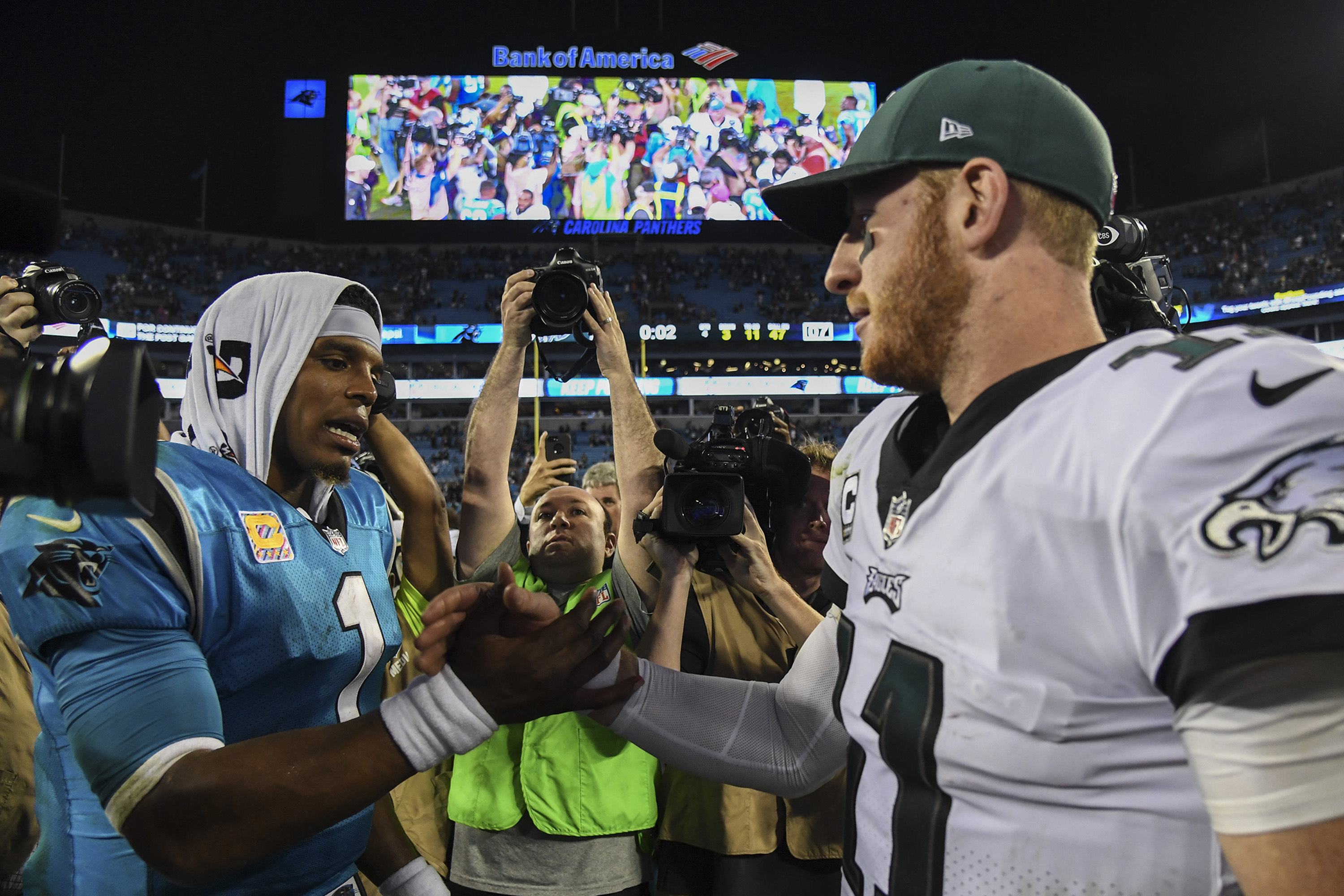 Carolina quarterback Cam Newton (left) has been hit more than any other quarterback in the NFL since 2011. The Eagles´ Carson Wentz (right) has been hit almost as often as Newton this season. (CLEM MURRAY/Staff Photographer)